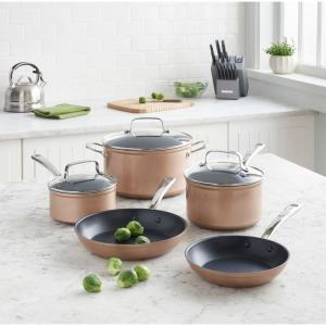 8 Piece Hard Anodized Nonstick Toffee Delight Cookware Set