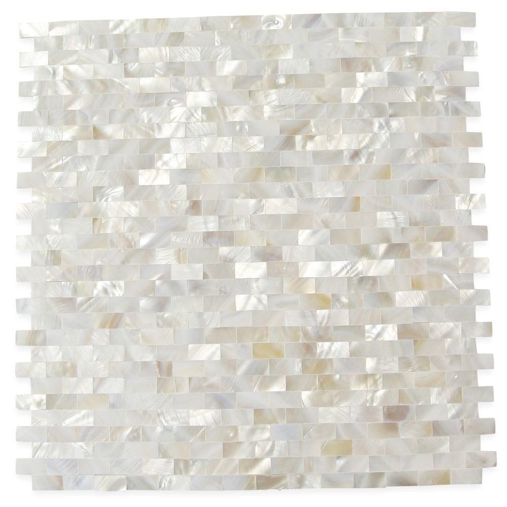 Ivy Hill Tile Mother of Pearl Serene White Bricks Seamless 12 in. x 12 in. x 3 mm Pearl Shell Glass Wall Mosaic Tile