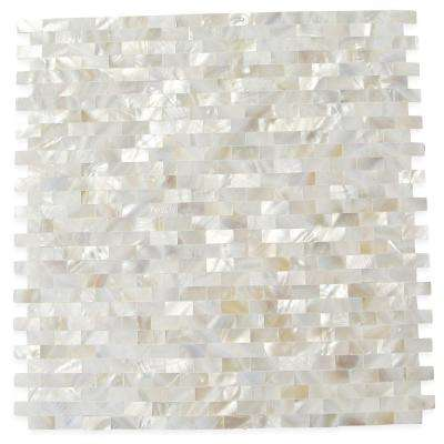 Mother of Pearl Serene White Bricks Seamless 12 in. x 12 in. x 3 mm Pearl Shell Glass Wall Mosaic Tile