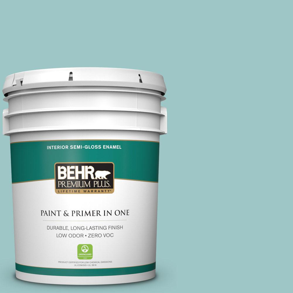5 gal. #HDC-SP16-08 Blue Bell Zero VOC Semi-Gloss Enamel Interior Paint