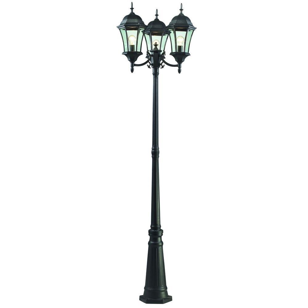 Outdoor Post Lights Home Depot: Filament Design 3-Light Outdoor Black Post Light-CLI