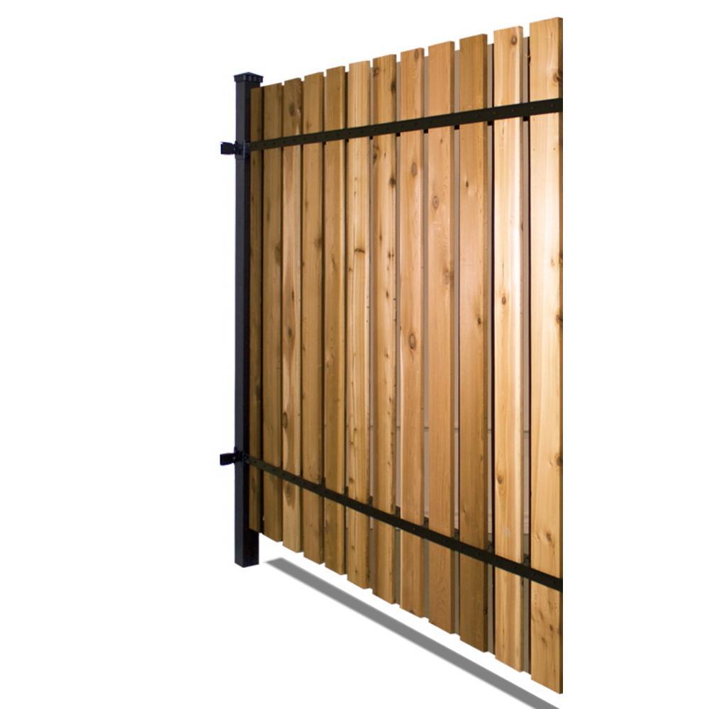 6 ft. x 8 ft. Black Aluminum Corner Post Fence Panel Kit with 10 ft. Post