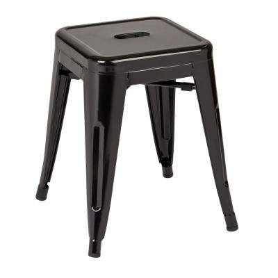 Patterson 18 in. Black Powder Coated Steel Metal Backless Stool Fully Assembled (4-Pack)