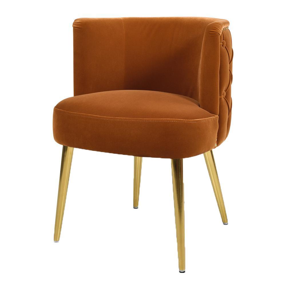 Misty Burnt Orange Velvet Modern Glam Accent Arm Chair