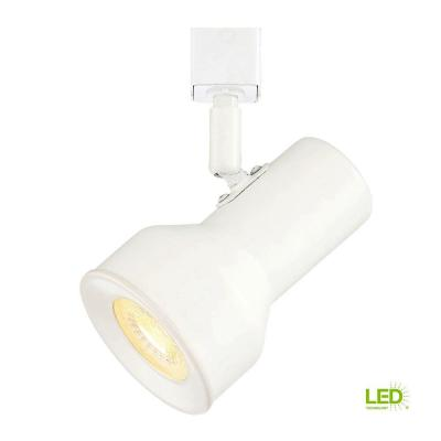 Medium Solid White Step Cylinder Integrated LED Track Lighting Head