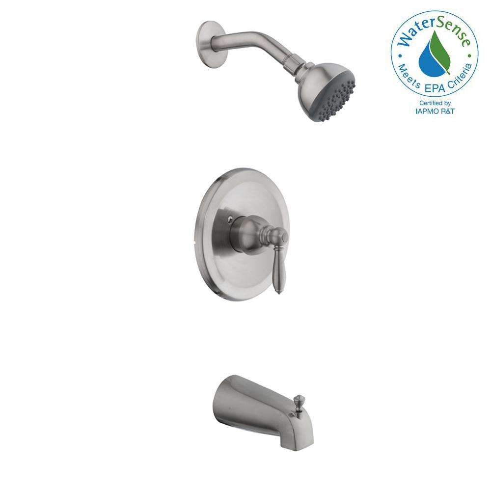 Glacier Bay 2500 Series Single-Handle 1-Spray Tub and Shower Faucet in Brushed Nickel (Valve Included)