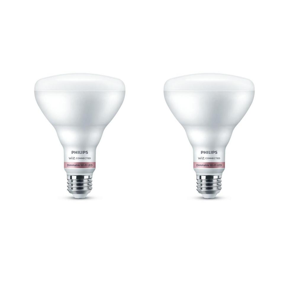 Philips Daylight BR30 LED 65-Watt Equivalent Dimmable Smart Wi-Fi Wiz Connected Wireless Light Bulb (2-Pack)