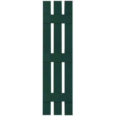 12 in. x 80 in. Lifetime Vinyl Standard Three Board Spaced Board and Batten Shutters Pair Midnight Green