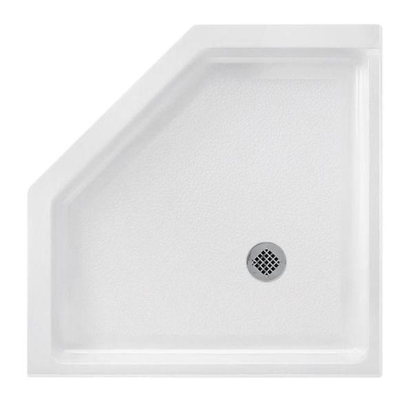 Neo Angle 38 in. x 38 in. Solid Surface Single Threshold Shower Pan in White