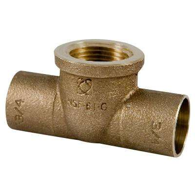 3/4 in. x 3/4 in. x 1/2 in. Lead-Free Copper Silicon Alloy Pressure C x C x F Tee
