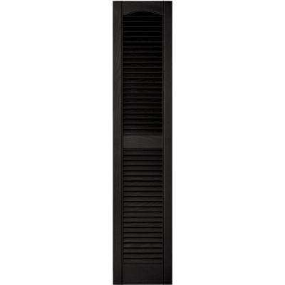 12 in. x 55 in. Louvered Vinyl Exterior Shutters Pair in #002 Black