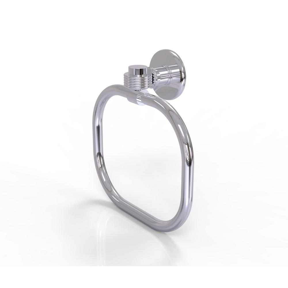 Allied Brass Continental Collection Towel Ring with Groovy Accents in Polished Chrome