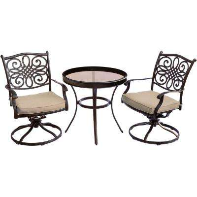 Seasons 3-Piece Aluminum Swivel Outdoor Bistro Set with Tan Cushions and 30 in. Glass-Top Table