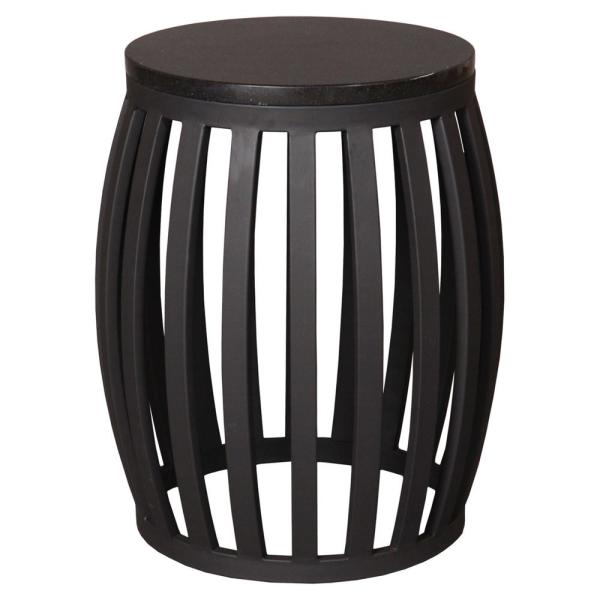 Meridian Black Metal Indoor/Outdoor  Stool/Side Table with Black Granite Top
