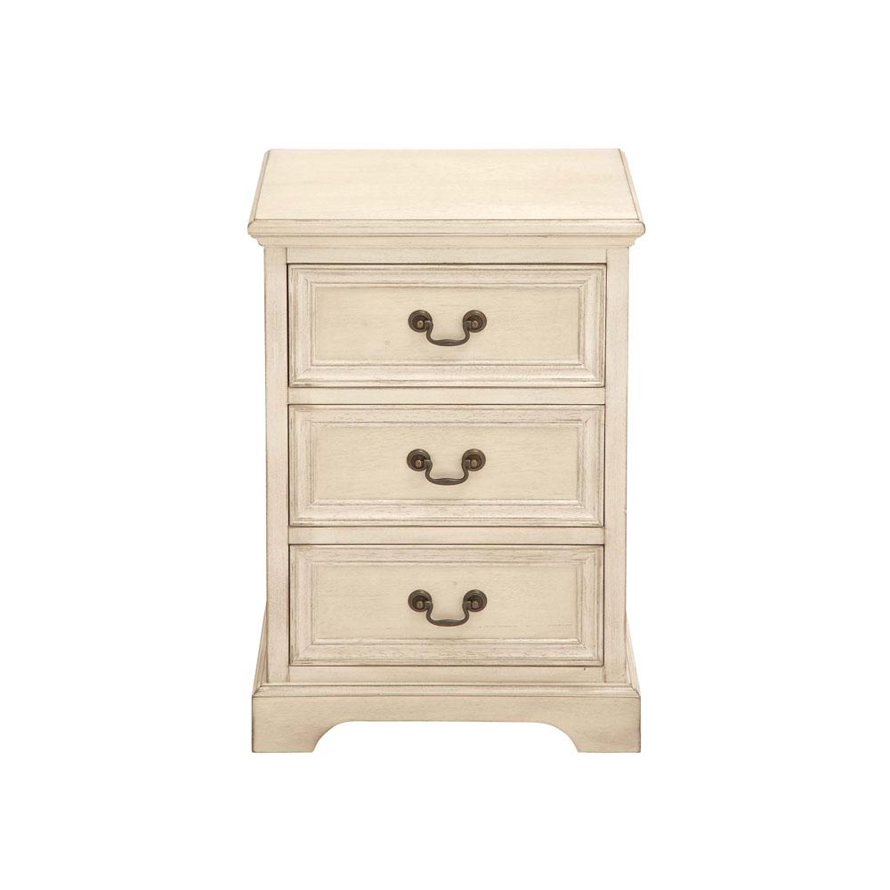 Beau Antique Ivory Modern 3 Drawer Wooden Side Table