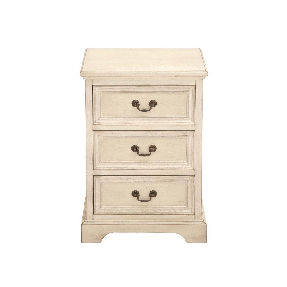 Antique Ivory Modern 3-Drawer Wooden Side Table