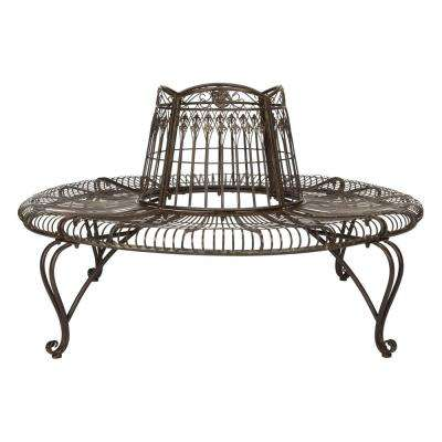 Ally 2-Person Rustic Brown Metal Outdoor Bench