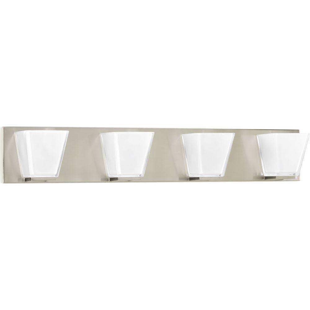 Progress Lighting Streaming Collection 4-Light Brushed Nickel Bathroom Vanity Light