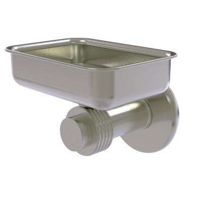 Mercury Collection Wall Mounted Soap Dish with Groovy Accents in Satin Nickel