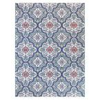 Star Moroccan Teal/White 5 ft. x 7 ft. Floral Indoor/Outdoor Area Rug