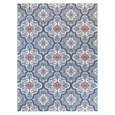 Star Moroccan 5 ft. x 7 ft. Teal/White Indoor/Outdoor Area Rug