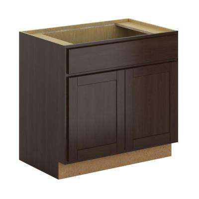 Princeton Shaker Assembled 36x34.5x24 in. Sink Base Cabinet in Espresso