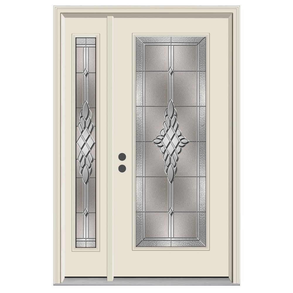 50 in. x 80 in. Full Lite Hadley Primed Steel Prehung Right-Hand Inswing Front Door with Left-Hand Sidelite