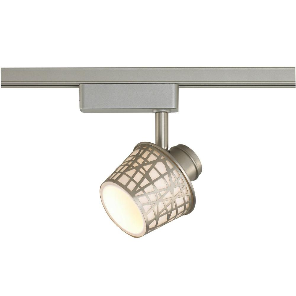 Commercial Electric Led Removable Basket Brushed Nickel Linear Track Lighting Head With White Gl Shade