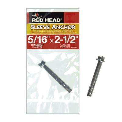 5/16 in. x 2-1/2 in. Zinc-Plated Steel Hex Head Sleeve Anchor