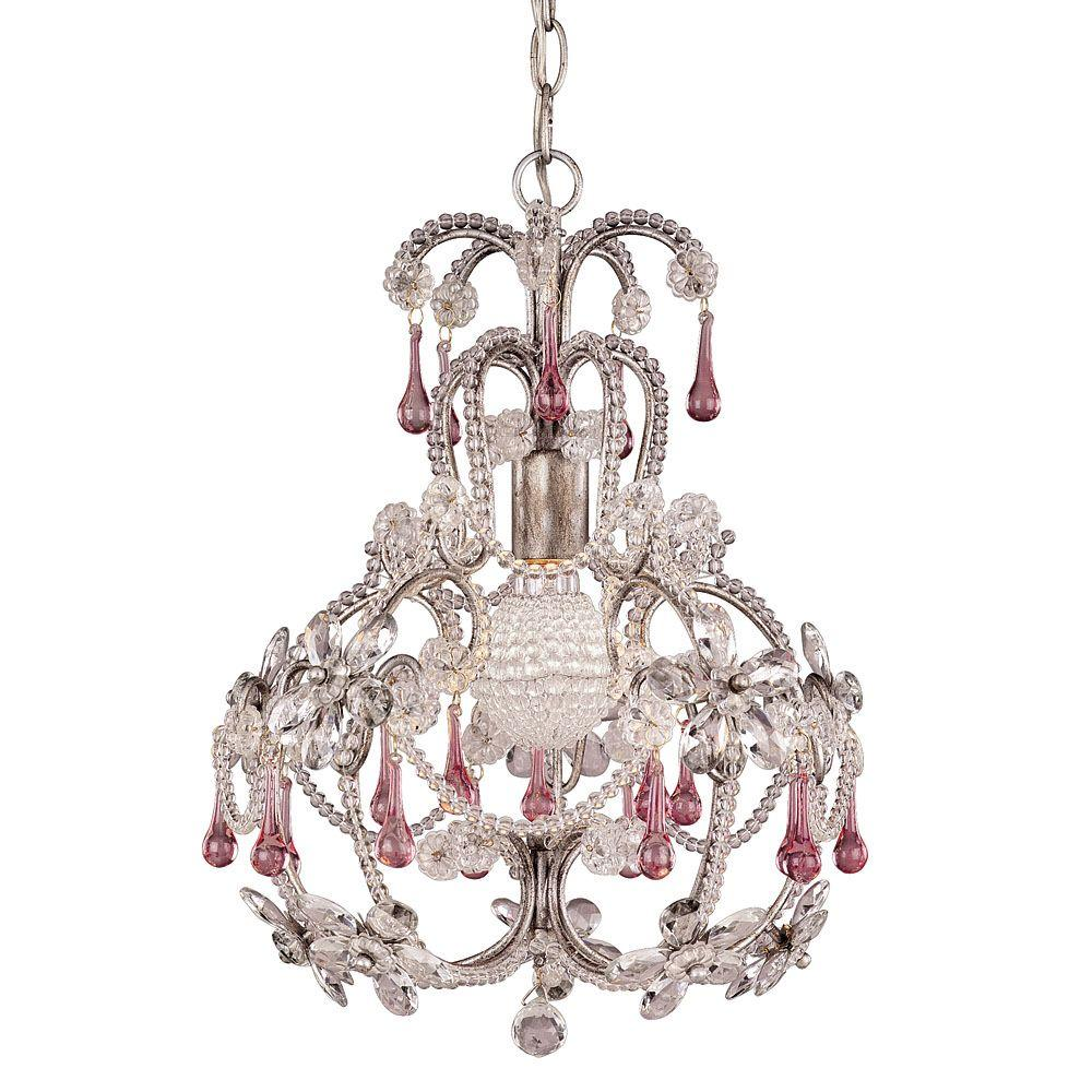 Illumine 1-Light Chandelier Distressed Silver Finish Pale Pink Crystals