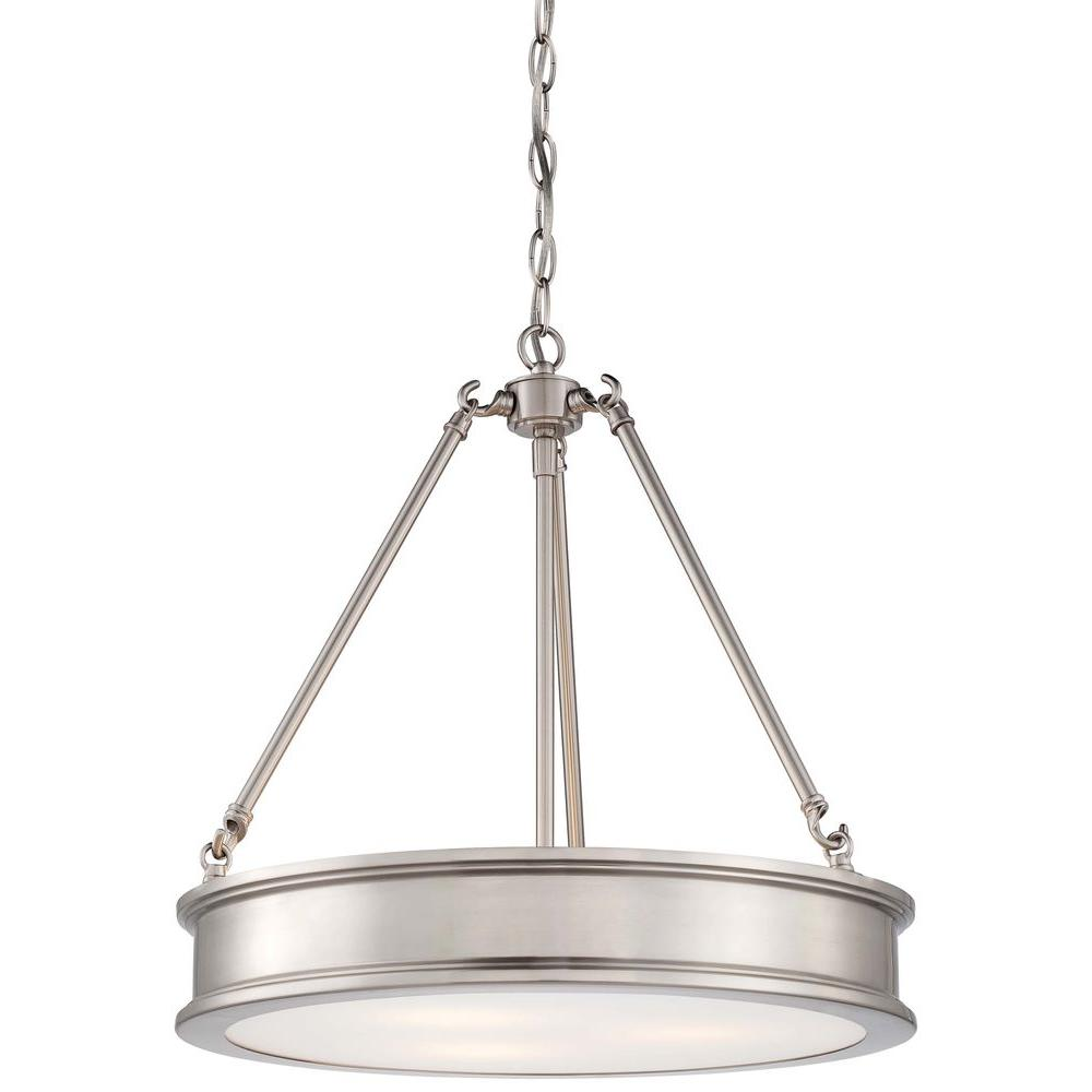 Minka lavery pendant lights lighting the home depot harbour point 3 light brushed nickel pendant arubaitofo Choice Image