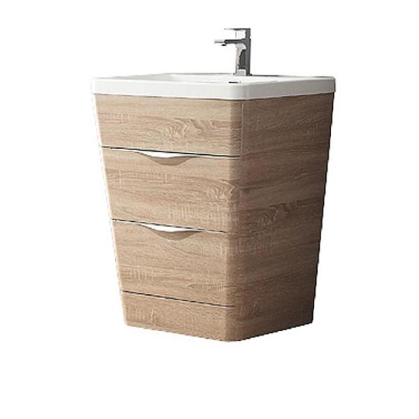 Milano 26 in. Vanity in White Oak with Acrylic Vanity Top in White