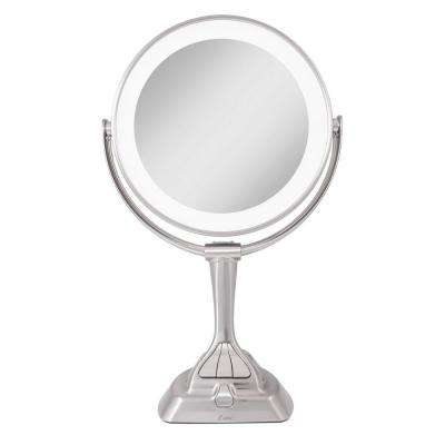 15.75 in. L x 10 in. W LED Angle Adjustable Freestanding Bi-View 10X/1X Vanity Beauty Makeup Mirror in Satin Nickel