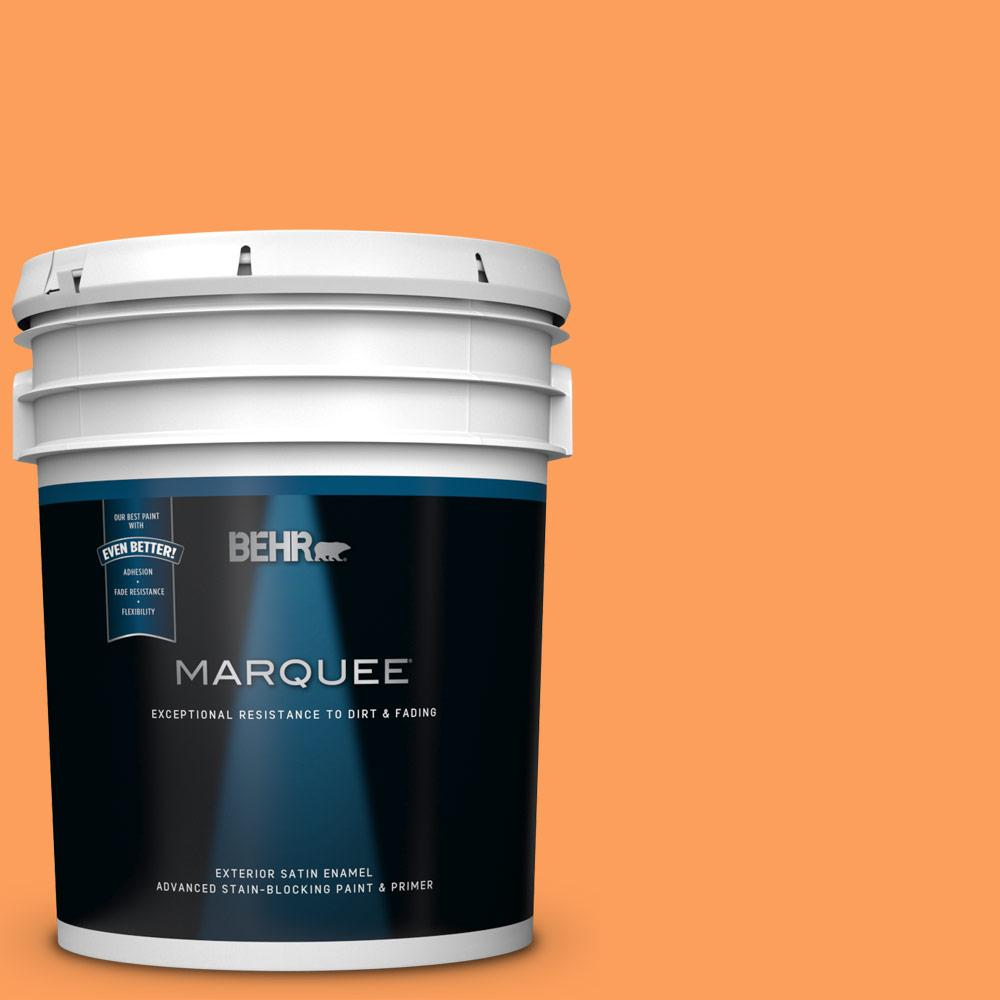 Behr Marquee 5 Gal T15 10 Clarified Orange Satin Enamel Exterior Paint And Primer In One 945305 The Home Depot