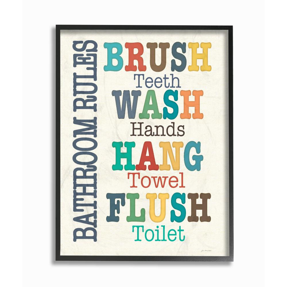 Bathroom Rules Wall Art | 16 In X 20 In Colorful Bathroom Rules Typography Art By Jo
