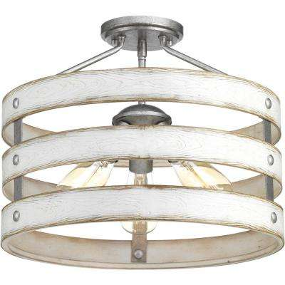 Gulliver 3-Light Galvanized Entry Way Semi-Flush Mount