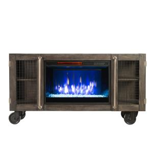 Click here to buy  Bold Flame Revolution 53 inch Wire Mesh Storage Electric Fireplace in Charcoal Gray.