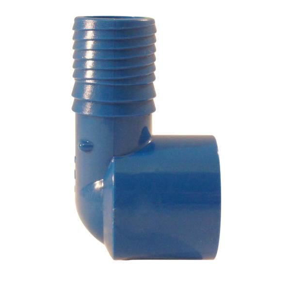 1 in. Polypropylene Blue Twister Insert 90-Degree x FPT Elbow