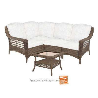 Spring Haven Grey 5-Piece Patio Sectional Seating Set with Cushion Insert (Slipcovers Sold Separately)