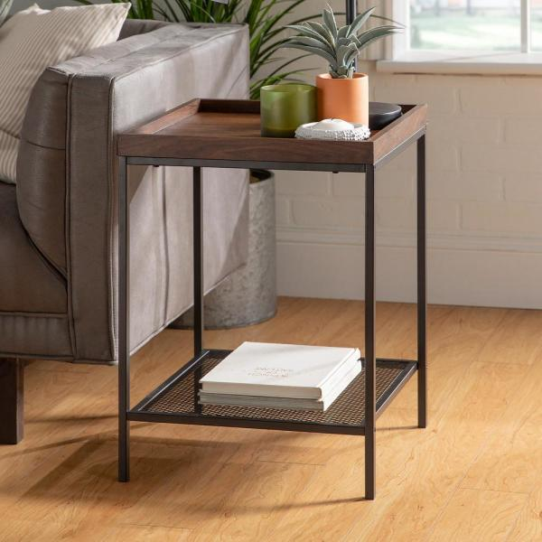18 in. Dark Walnut Square Wood Side Table with Lower Mesh Shelf