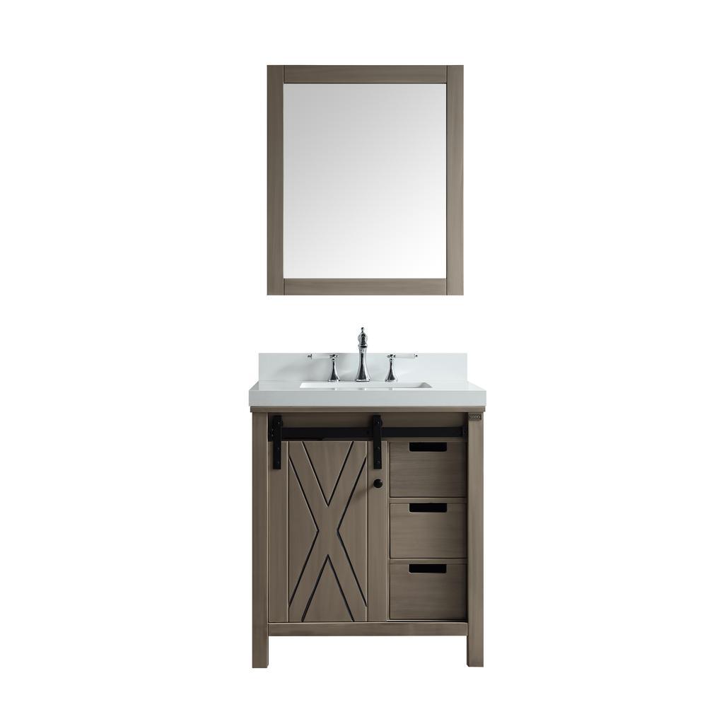Marsyas 30 in. Single Bath Vanity Ash Grey w/ White Quartz Vanity Top w/ White Square Sink and 28 in. Mirror