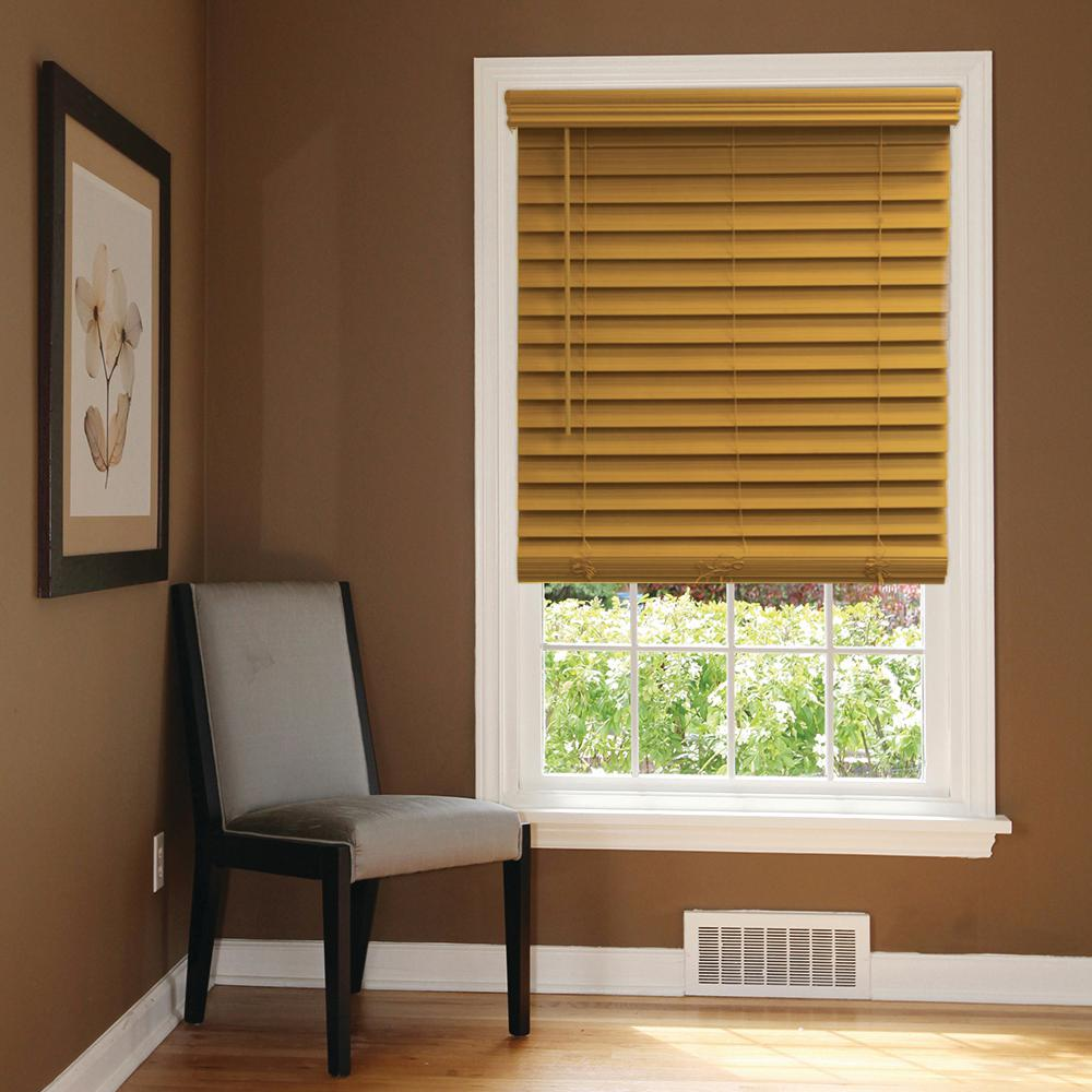 Chestnut Cordless 2-1/2 in. Premium Faux Wood Blind - 54 in.