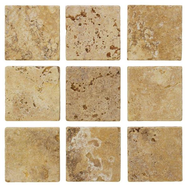 Travertino Gold 4 in. x 4 in. Tumbled Travertine Wall and Floor Tile (1 sq. ft./ pack)