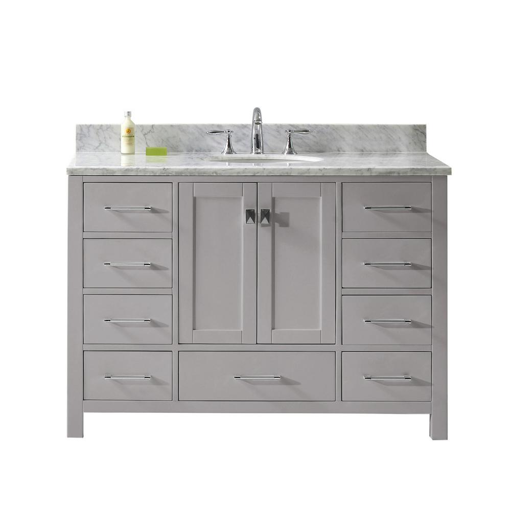 Caroline Avenue 48 in. W Vanity in Cashmere Grey with Marble