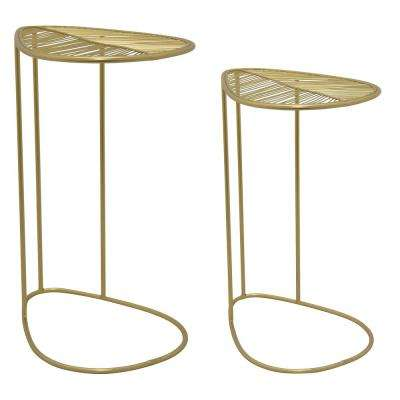 Metal Plant Stand Set of 2 in Gold Metal 18in L x 14in W x 26in H