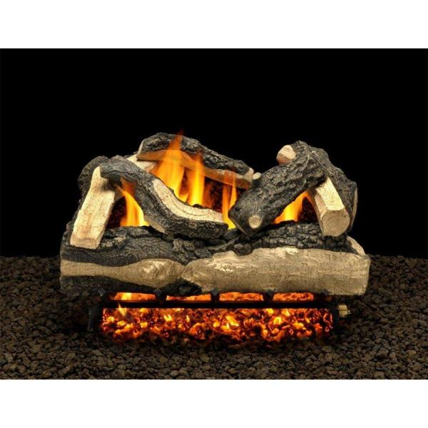 Salisbury Split 24 in. Vented Propane Gas Fireplace Logs, Complete Set with Pilot Kit and On/Off Variable Height Remote