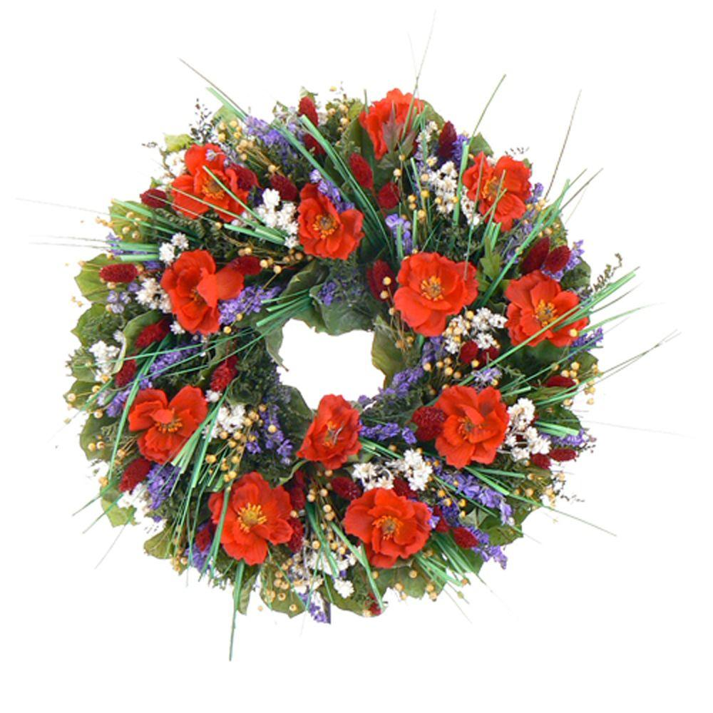 The Christmas Tree Company Brilliant Poppies 18 in. Dried Floral Wreath-DISCONTINUED