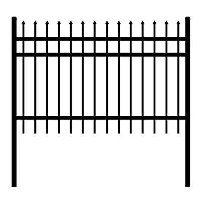 Rome Style 6 ft. x 6 ft. Black Unassembled Steel Fence Panel