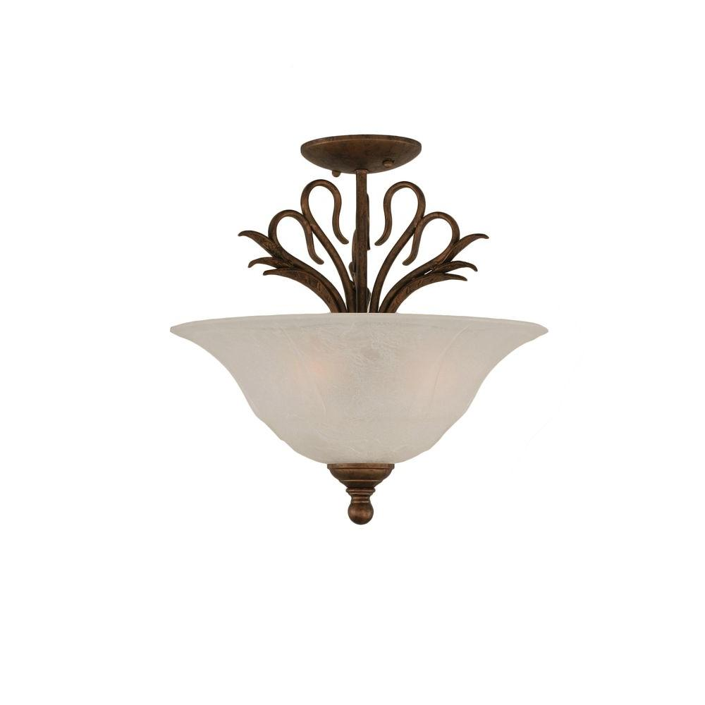 Concord 3-Light Bronze and White Marble Glass Semi-Flush Mount Light