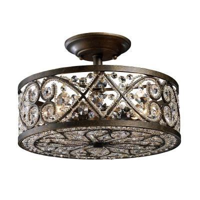 Amherst 4-Light Antique Bronze Ceiling Semi-Flush Mount Light